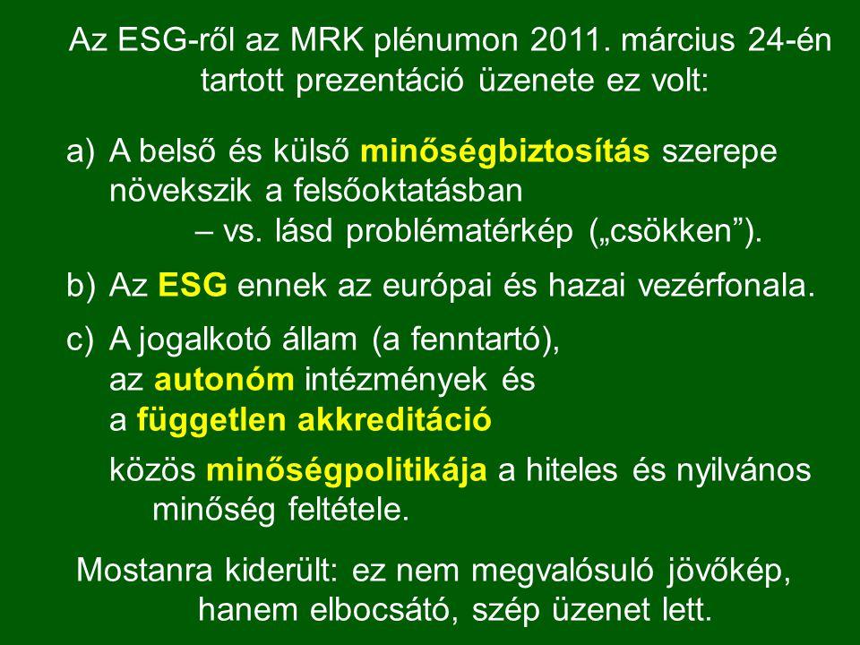 Az ESG-ről az MRK plénumon 2011. március 24-én tartott prezentáció üzenete ez volt: a)A belső és külső minőségbiztosítás szerepe növekszik a felsőokta