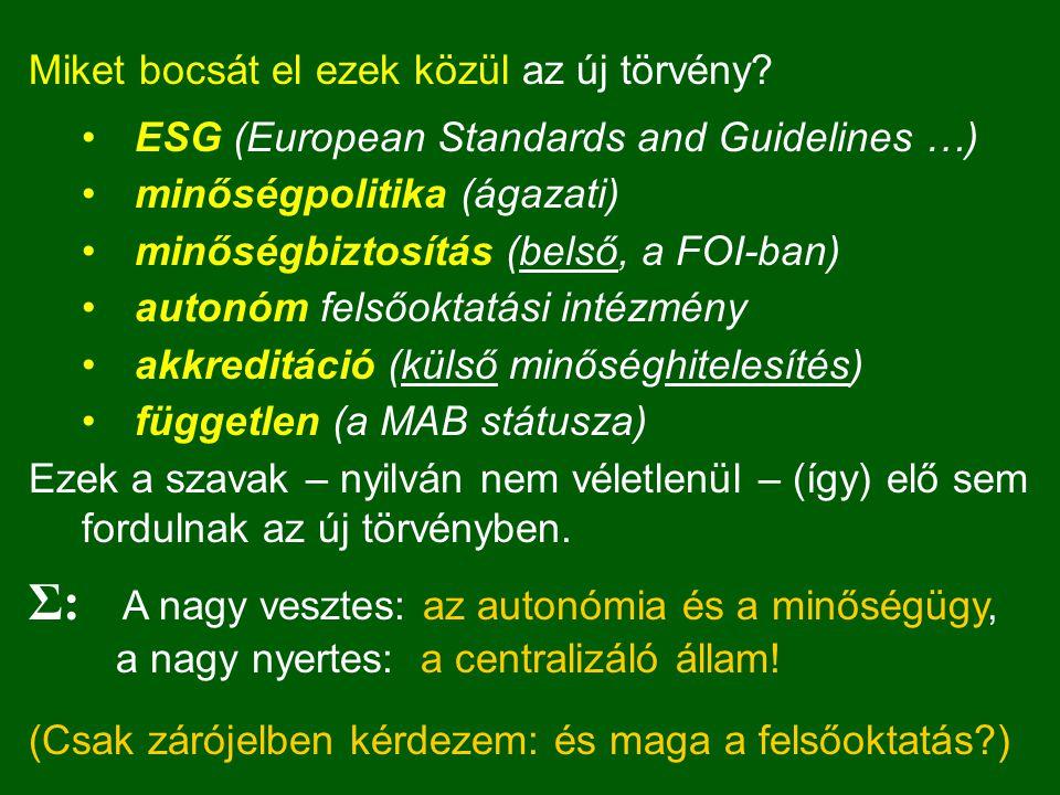 Miket bocsát el ezek közül az új törvény? ESG (European Standards and Guidelines …) minőségpolitika (ágazati) minőségbiztosítás (belső, a FOI-ban) aut