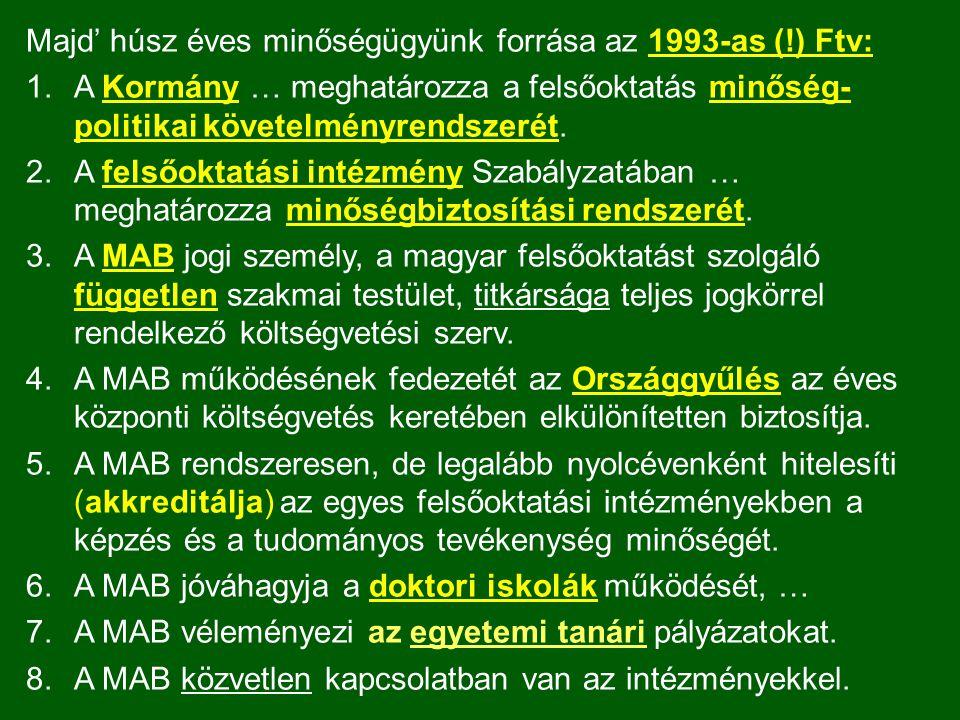 Majd' húsz éves minőségügyünk forrása az 1993-as (!) Ftv: 1.A Kormány … meghatározza a felsőoktatás minőség- politikai követelményrendszerét. 2.A fels
