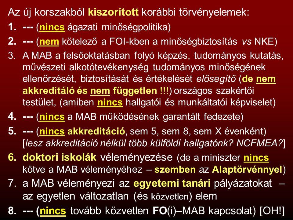 Az új korszakból kiszorított korábbi törvényelemek: 1.--- (nincs ágazati minőségpolitika) 2.--- (nem kötelező a FOI-kben a minőségbiztosítás vs NKE) 3