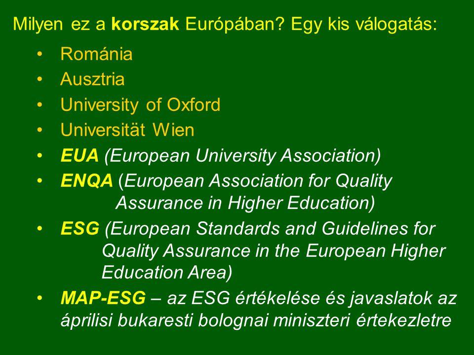 Milyen ez a korszak Európában? Egy kis válogatás: Románia Ausztria University of Oxford Universität Wien EUA (European University Association) ENQA (E