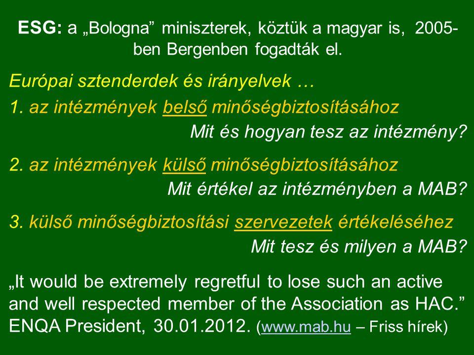 """ESG: a """"Bologna"""" miniszterek, köztük a magyar is, 2005- ben Bergenben fogadták el. Európai sztenderdek és irányelvek … 1. az intézmények belső minőség"""