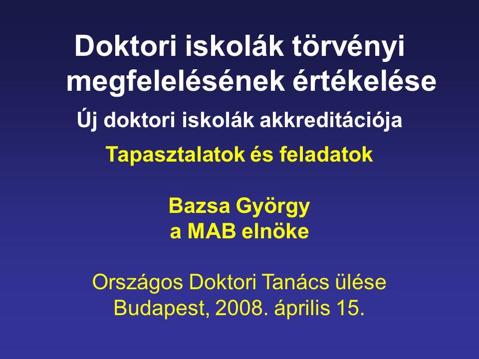 Doktori iskolák törvényi megfelelésének értékelése Új doktori iskolák akkreditációja Tapasztalatok és feladatok Bazsa György a MAB elnöke Országos Doktori Tanács ülése Budapest, 2008.