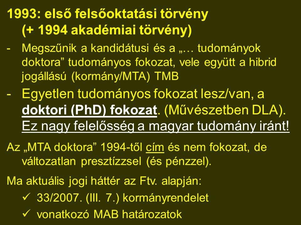 """1993: első felsőoktatási törvény (+ 1994 akadémiai törvény) -Megszűnik a kandidátusi és a """"… tudományok doktora tudományos fokozat, vele együtt a hibrid jogállású (kormány/MTA) TMB -Egyetlen tudományos fokozat lesz/van, a doktori (PhD) fokozat."""
