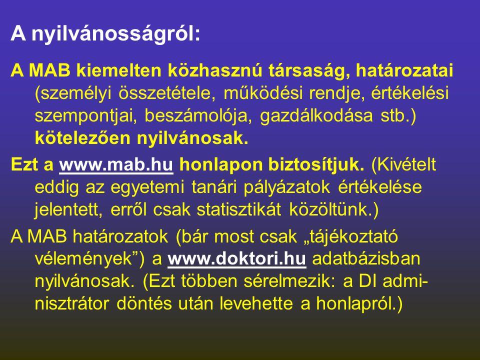 A nyilvánosságról: A MAB kiemelten közhasznú társaság, határozatai (személyi összetétele, működési rendje, értékelési szempontjai, beszámolója, gazdál