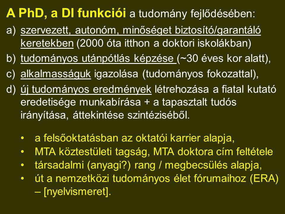 A PhD, a DI funkciói a tudomány fejlődésében: a)szervezett, autonóm, minőséget biztosító/garantáló keretekben (2000 óta itthon a doktori iskolákban) b)tudományos utánpótlás képzése (~30 éves kor alatt), c)alkalmasságuk igazolása (tudományos fokozattal), d)új tudományos eredmények létrehozása a fiatal kutató eredetisége munkabírása + a tapasztalt tudós irányítása, áttekintése szintéziséből.