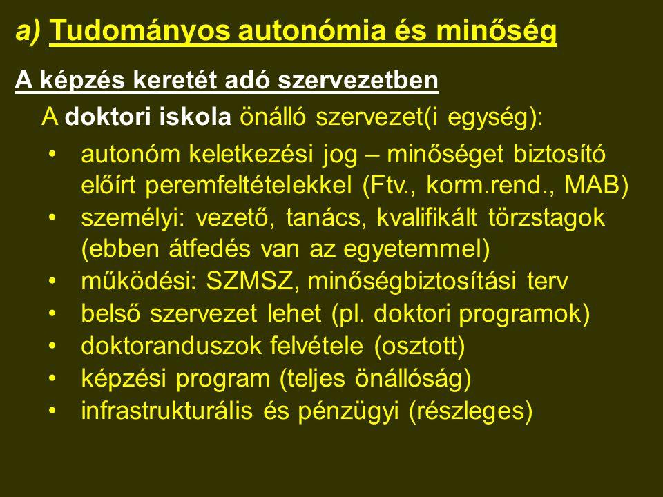 a) Tudományos autonómia és minőség A képzés keretét adó szervezetben A doktori iskola önálló szervezet(i egység): autonóm keletkezési jog – minőséget biztosító előírt peremfeltételekkel (Ftv., korm.rend., MAB) személyi: vezető, tanács, kvalifikált törzstagok (ebben átfedés van az egyetemmel) működési: SZMSZ, minőségbiztosítási terv belső szervezet lehet (pl.