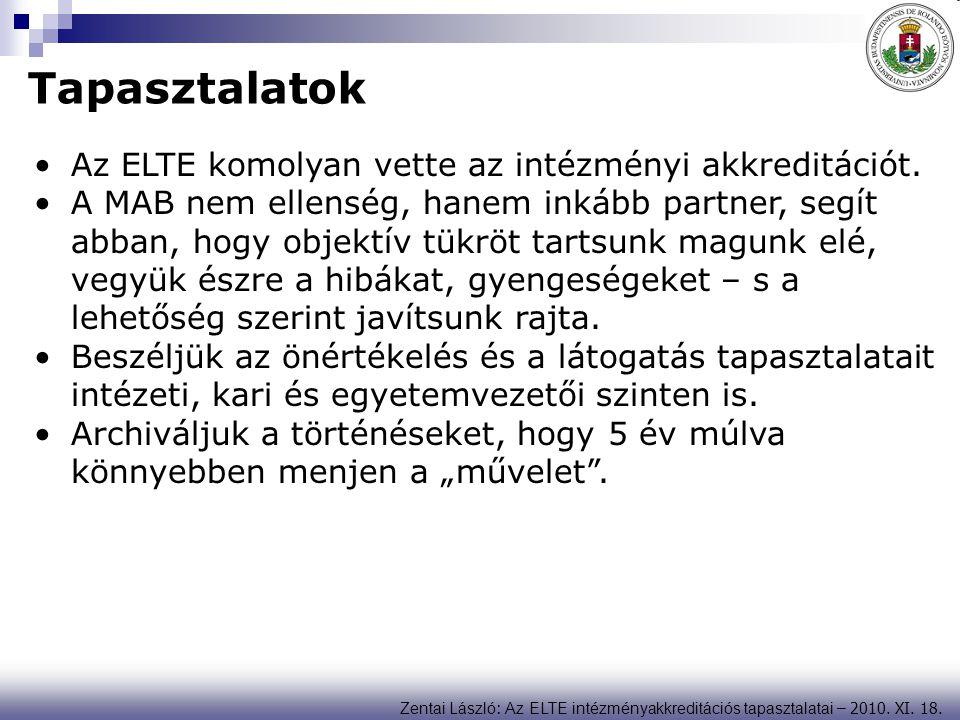 Zentai László : Az ELTE intézményakkreditációs tapasztalatai – 2010. XI. 18. Tapasztalatok Az ELTE komolyan vette az intézményi akkreditációt. A MAB n