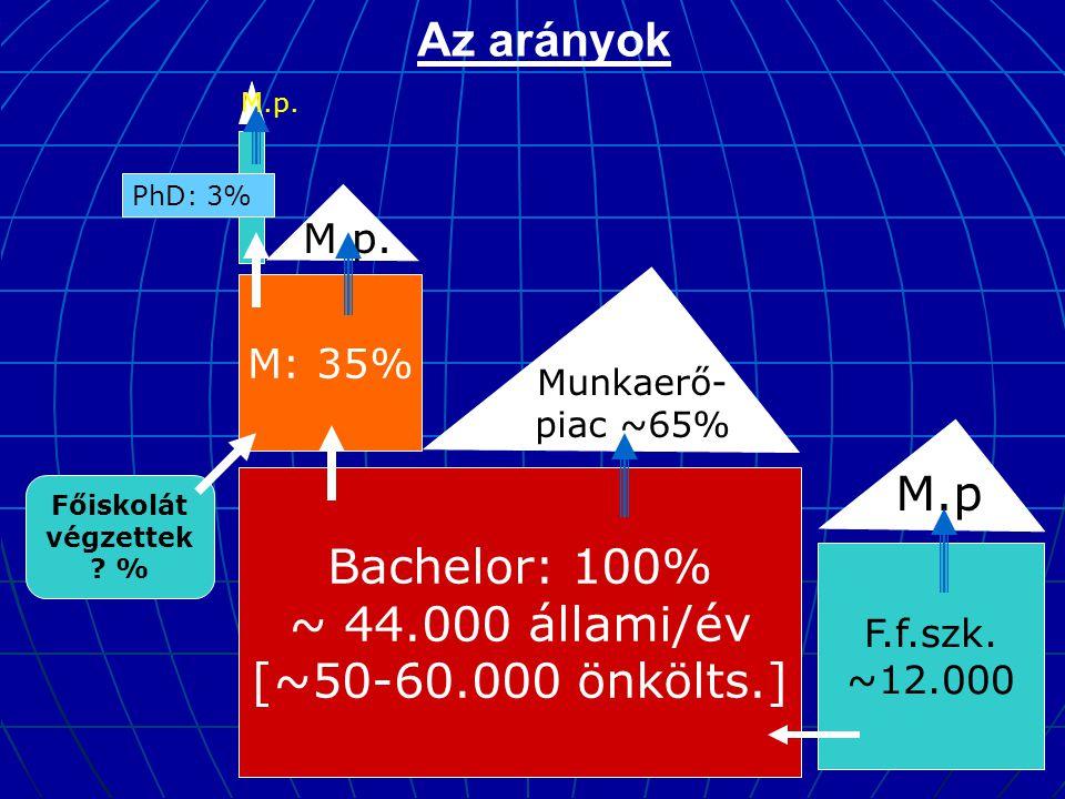 Az arányok Bachelor: 100% ~ 44.000 állami/év [~50-60.000 önkölts.] M: 35% Munkaerő- piac ~65% M.p.