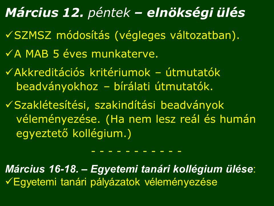 Március 12. péntek – elnökségi ülés SZMSZ módosítás (végleges változatban).