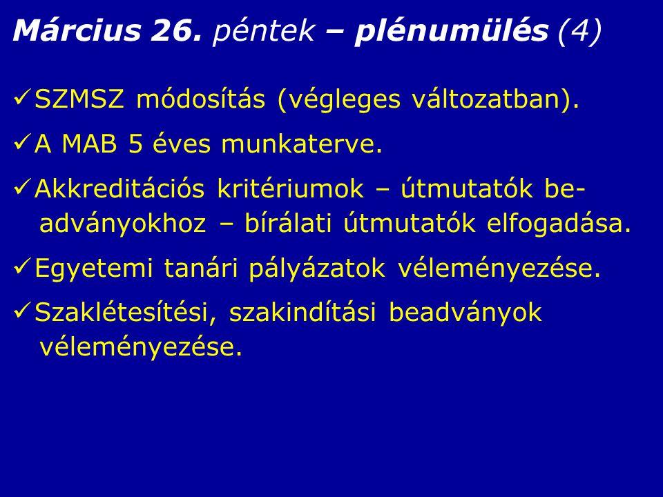 Március 26. péntek – plénumülés (4) SZMSZ módosítás (végleges változatban).