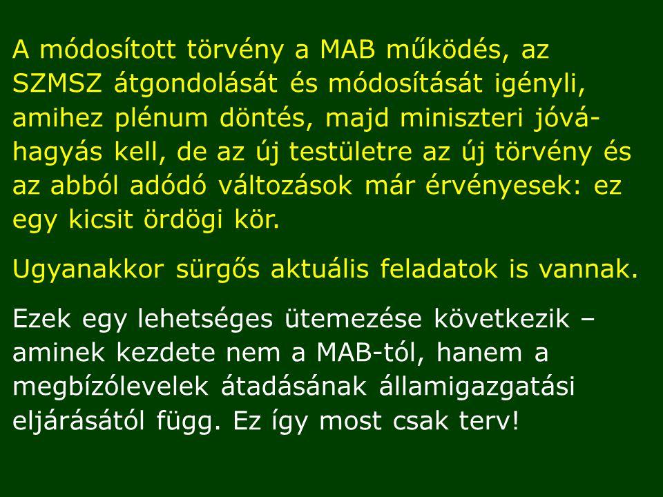 A módosított törvény a MAB működés, az SZMSZ átgondolását és módosítását igényli, amihez plénum döntés, majd miniszteri jóvá- hagyás kell, de az új testületre az új törvény és az abból adódó változások már érvényesek: ez egy kicsit ördögi kör.