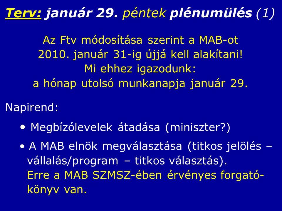 Terv: január 29. péntek plénumülés (1) Az Ftv módosítása szerint a MAB-ot 2010.