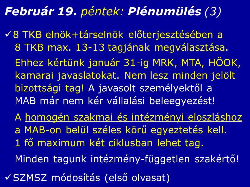Február 19. péntek: Plénumülés (3) 8 TKB elnök+társelnök előterjesztésében a 8 TKB max.
