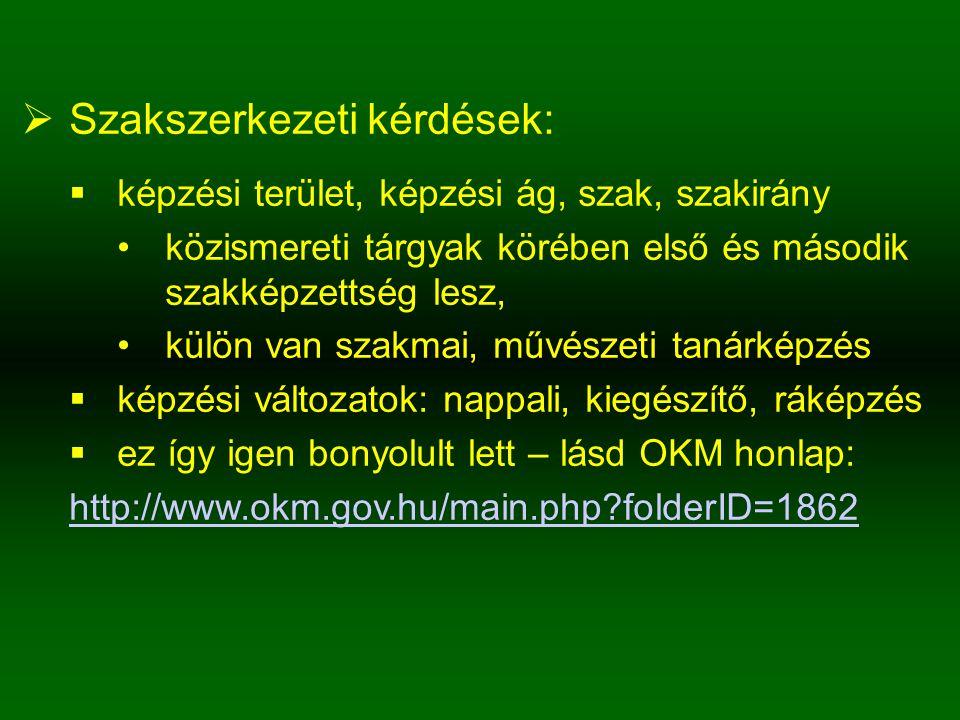  Szakszerkezeti kérdések:  képzési terület, képzési ág, szak, szakirány közismereti tárgyak körében első és második szakképzettség lesz, külön van szakmai, művészeti tanárképzés  képzési változatok: nappali, kiegészítő, ráképzés  ez így igen bonyolult lett – lásd OKM honlap: http://www.okm.gov.hu/main.php?folderID=1862
