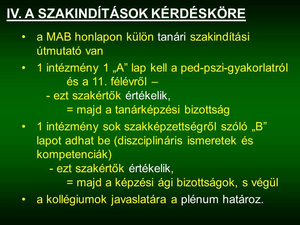 """IV. A SZAKINDÍTÁSOK KÉRDÉSKÖRE a MAB honlapon külön tanári szakindítási útmutató van 1 intézmény 1 """"A"""" lap kell a ped-pszi-gyakorlatról és a 11. félév"""
