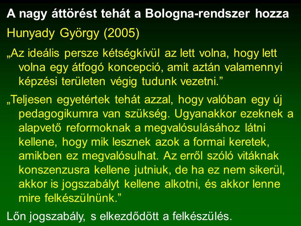 """A nagy áttörést tehát a Bologna-rendszer hozza Hunyady György (2005) """" Az ideális persze kétségkívül az lett volna, hogy lett volna egy átfogó koncepció, amit aztán valamennyi képzési területen végig tudunk vezetni. """"Teljesen egyetértek tehát azzal, hogy valóban egy új pedagogikumra van szükség."""
