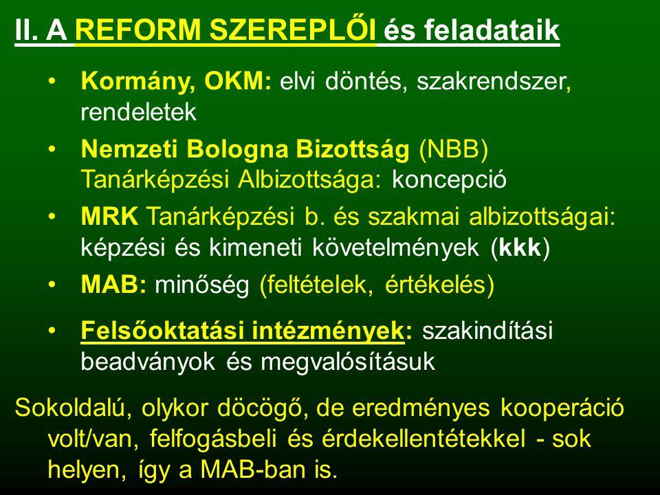II. A REFORM SZEREPLŐI és feladataik Kormány, OKM: elvi döntés, szakrendszer, rendeletek Nemzeti Bologna Bizottság (NBB) Tanárképzési Albizottsága: ko