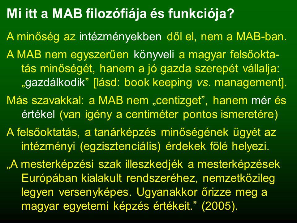Mi itt a MAB filozófiája és funkciója. A minőség az intézményekben dől el, nem a MAB-ban.
