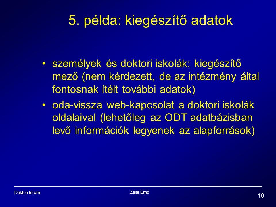 Zalai Ernő 10 Doktori fórum 5. példa: kiegészítő adatok személyek és doktori iskolák: kiegészítő mező (nem kérdezett, de az intézmény által fontosnak