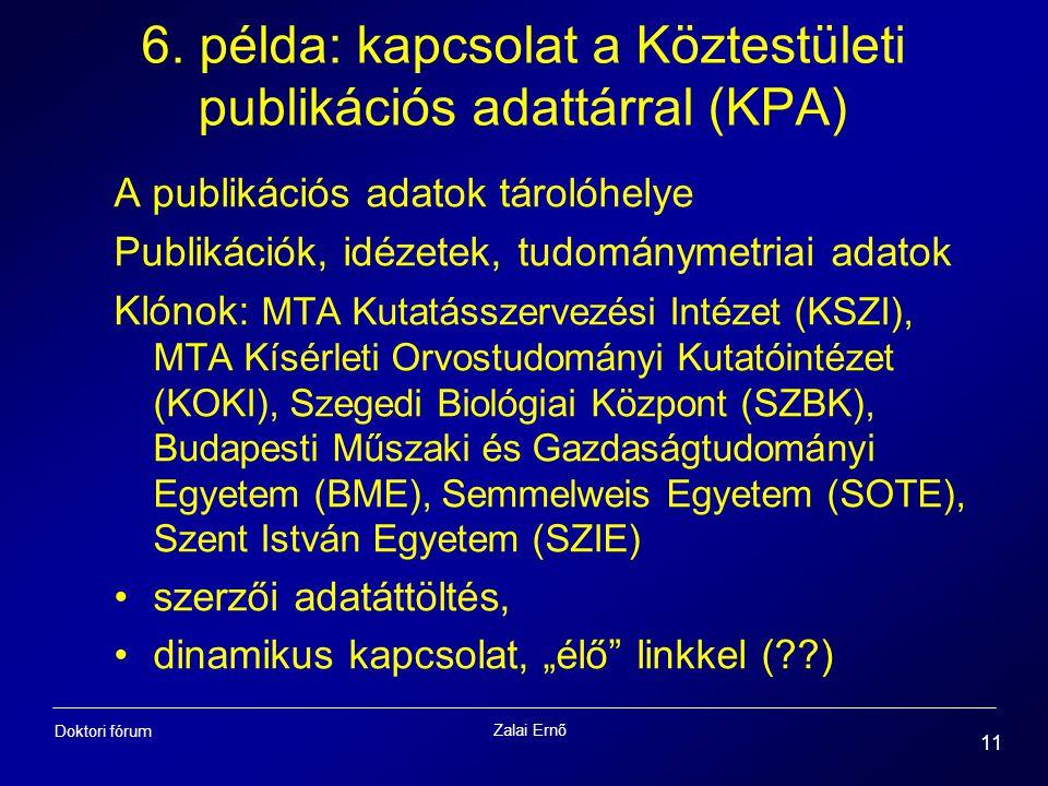 Zalai Ernő 11 Doktori fórum 6. példa: kapcsolat a Köztestületi publikációs adattárral (KPA) A publikációs adatok tárolóhelye Publikációk, idézetek, tu