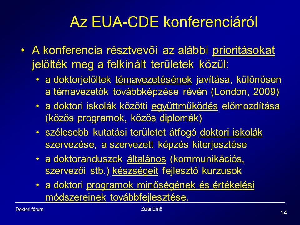 Zalai Ernő 14 Doktori fórum Az EUA-CDE konferenciáról A konferencia résztvevői az alábbi prioritásokat jelölték meg a felkínált területek közül: a dok