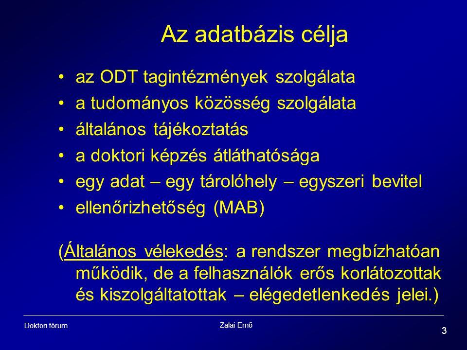 Zalai Ernő 3 Doktori fórum Az adatbázis célja az ODT tagintézmények szolgálata a tudományos közösség szolgálata általános tájékoztatás a doktori képzé