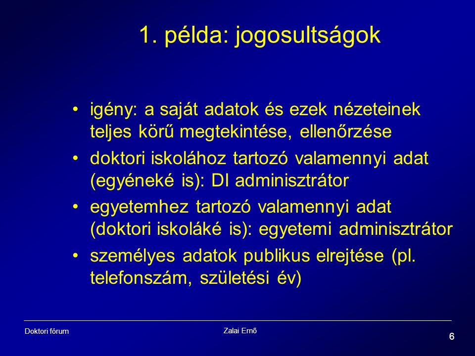 Zalai Ernő 6 Doktori fórum 1. példa: jogosultságok igény: a saját adatok és ezek nézeteinek teljes körű megtekintése, ellenőrzése doktori iskolához ta