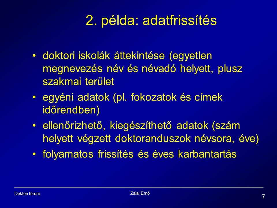 Zalai Ernő 7 Doktori fórum 2. példa: adatfrissítés doktori iskolák áttekintése (egyetlen megnevezés név és névadó helyett, plusz szakmai terület egyén