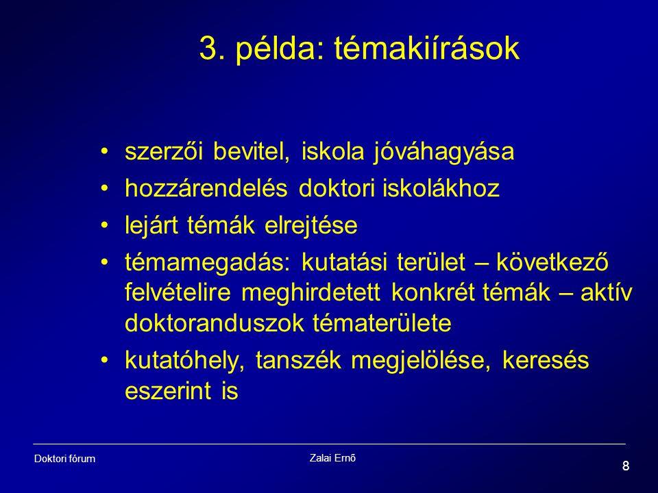 Zalai Ernő 8 Doktori fórum 3. példa: témakiírások szerzői bevitel, iskola jóváhagyása hozzárendelés doktori iskolákhoz lejárt témák elrejtése témamega
