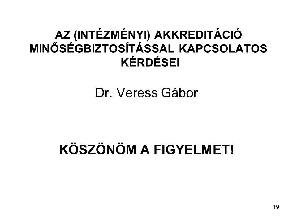 19 AZ (INTÉZMÉNYI) AKKREDITÁCIÓ MINŐSÉGBIZTOSÍTÁSSAL KAPCSOLATOS KÉRDÉSEI Dr.
