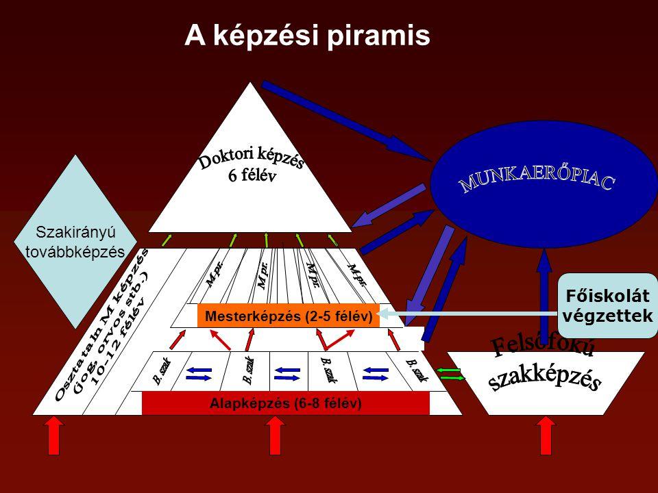 Alapképzés (6-8 félév) Mesterképzés (2-5 félév) A képzési piramis Főiskolát végzettek Szakirányú továbbképzés