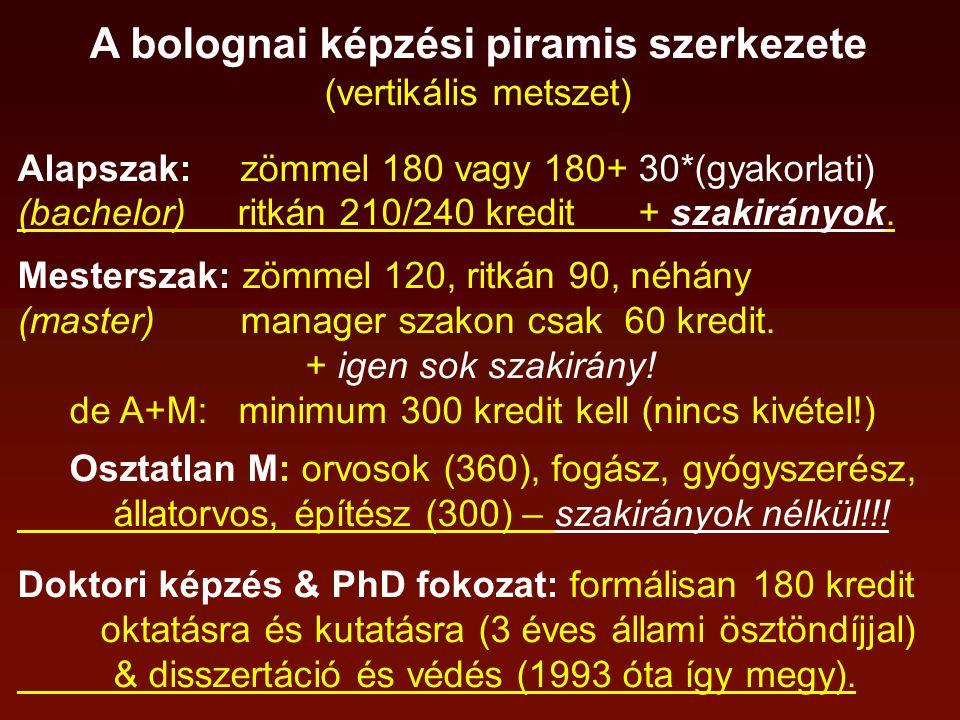 A bolognai képzési piramis szerkezete (vertikális metszet) Alapszak: zömmel 180 vagy 180+ 30*(gyakorlati) (bachelor) ritkán 210/240 kredit + szakirányok.