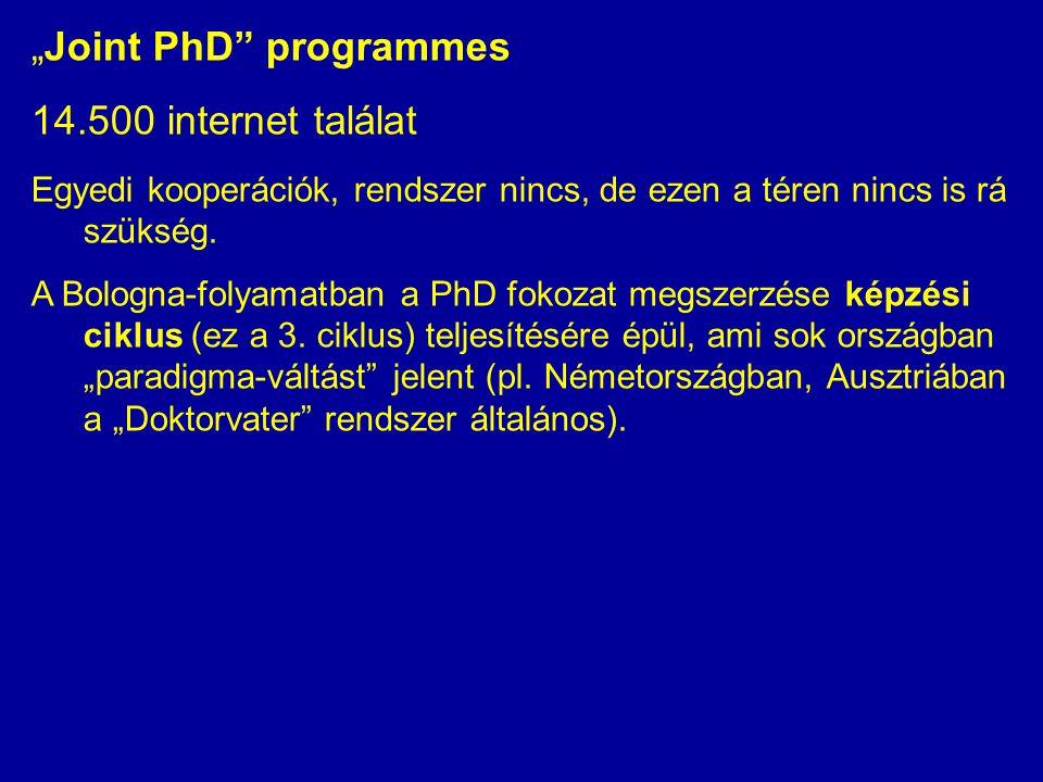 """""""Joint PhD programmes 14.500 internet találat Egyedi kooperációk, rendszer nincs, de ezen a téren nincs is rá szükség."""