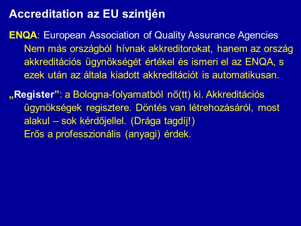 Accreditation az EU szintjén ENQA: European Association of Quality Assurance Agencies Nem más országból hívnak akkreditorokat, hanem az ország akkreditációs ügynökségét értékel és ismeri el az ENQA, s ezek után az általa kiadott akkreditációt is automatikusan.