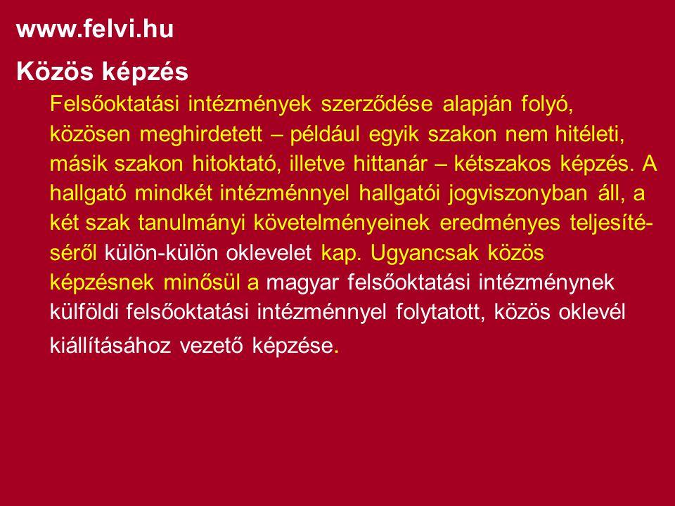 www.felvi.hu Közös képzés Felsőoktatási intézmények szerződése alapján folyó, közösen meghirdetett – például egyik szakon nem hitéleti, másik szakon hitoktató, illetve hittanár – kétszakos képzés.