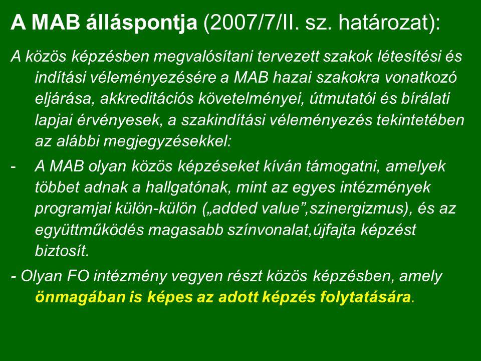 A MAB álláspontja (2007/7/II.sz.