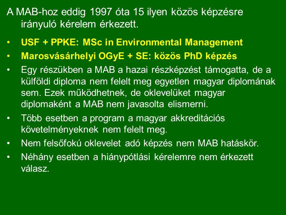A MAB-hoz eddig 1997 óta 15 ilyen közös képzésre irányuló kérelem érkezett.