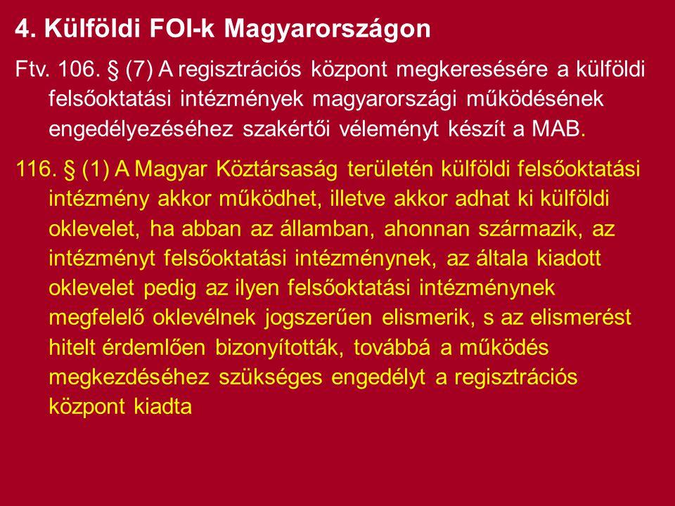 4. Külföldi FOI-k Magyarországon Ftv. 106.