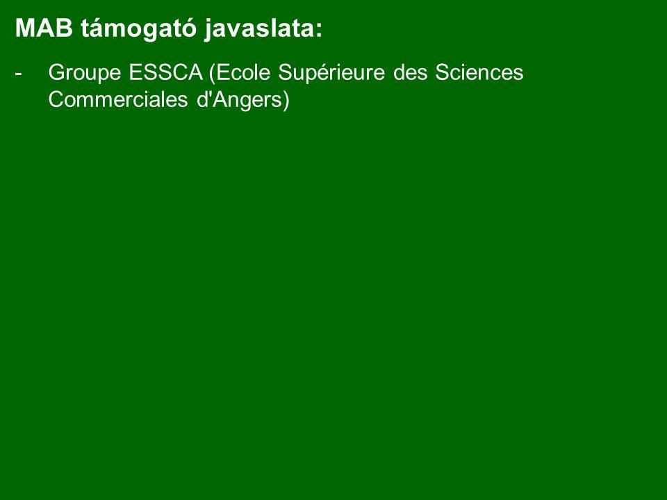 MAB támogató javaslata: -Groupe ESSCA (Ecole Supérieure des Sciences Commerciales d Angers)