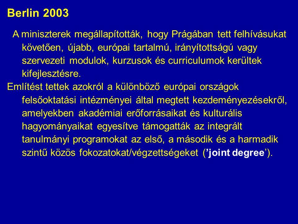 Berlin 2003 A miniszterek megállapították, hogy Prágában tett felhívásukat követően, újabb, európai tartalmú, irányítottságú vagy szervezeti modulok, kurzusok és curriculumok kerültek kifejlesztésre.