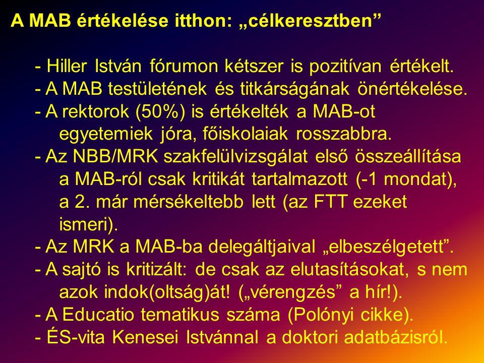 """A MAB értékelése itthon: """"célkeresztben - Hiller István fórumon kétszer is pozitívan értékelt."""