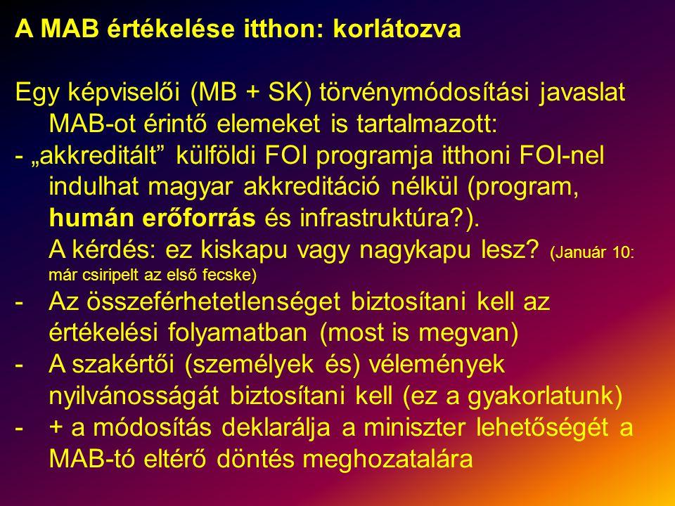 """A MAB értékelése itthon: korlátozva Egy képviselői (MB + SK) törvénymódosítási javaslat MAB-ot érintő elemeket is tartalmazott: - """"akkreditált külföldi FOI programja itthoni FOI-nel indulhat magyar akkreditáció nélkül (program, humán erőforrás és infrastruktúra )."""