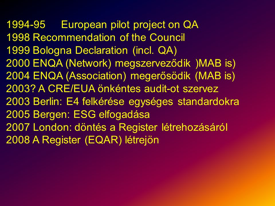 1994-95European pilot project on QA 1998 Recommendation of the Council 1999 Bologna Declaration (incl.