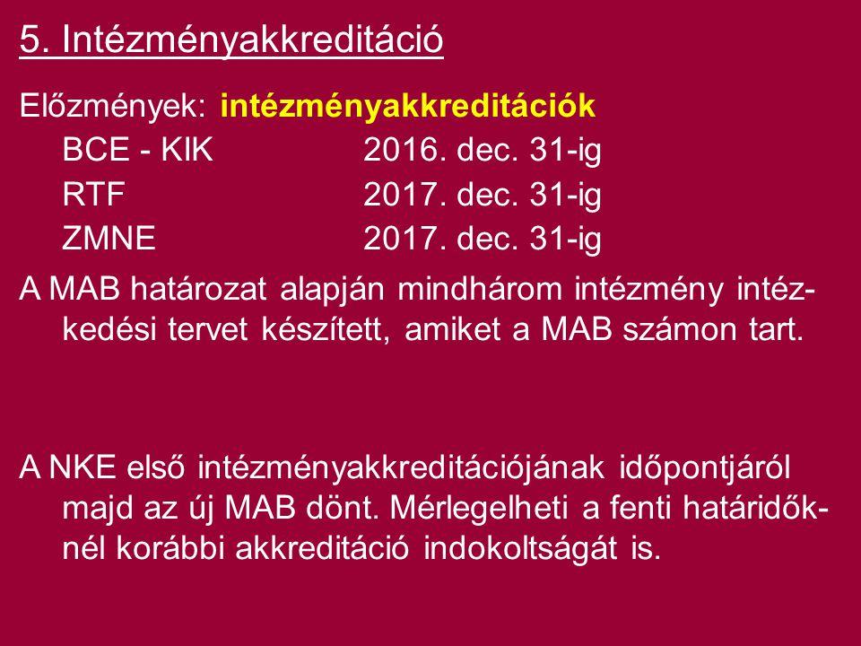 5. Intézményakkreditáció Előzmények: intézményakkreditációk BCE - KIK2016. dec. 31-ig RTF2017. dec. 31-ig ZMNE2017. dec. 31-ig A MAB határozat alapján