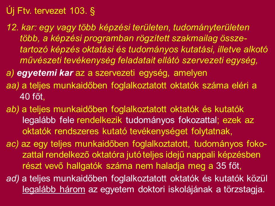 Új Ftv. tervezet 103. § 12. kar: egy vagy több képzési területen, tudományterületen több, a képzési programban rögzített szakmailag össze- tartozó kép