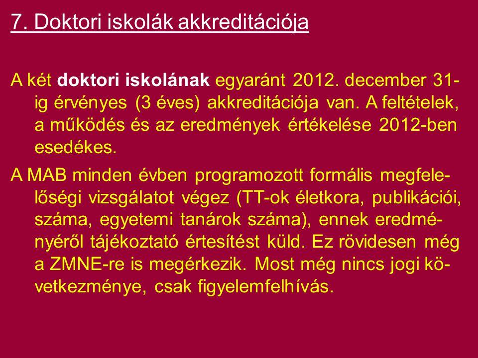 7. Doktori iskolák akkreditációja A két doktori iskolának egyaránt 2012. december 31- ig érvényes (3 éves) akkreditációja van. A feltételek, a működés