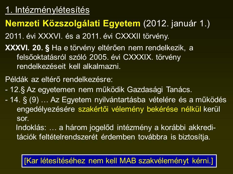 1. Intézménylétesítés Nemzeti Közszolgálati Egyetem (2012. január 1.) 2011. évi XXXVI. és a 2011. évi CXXXII törvény. XXXVI. 20. § Ha e törvény eltérő