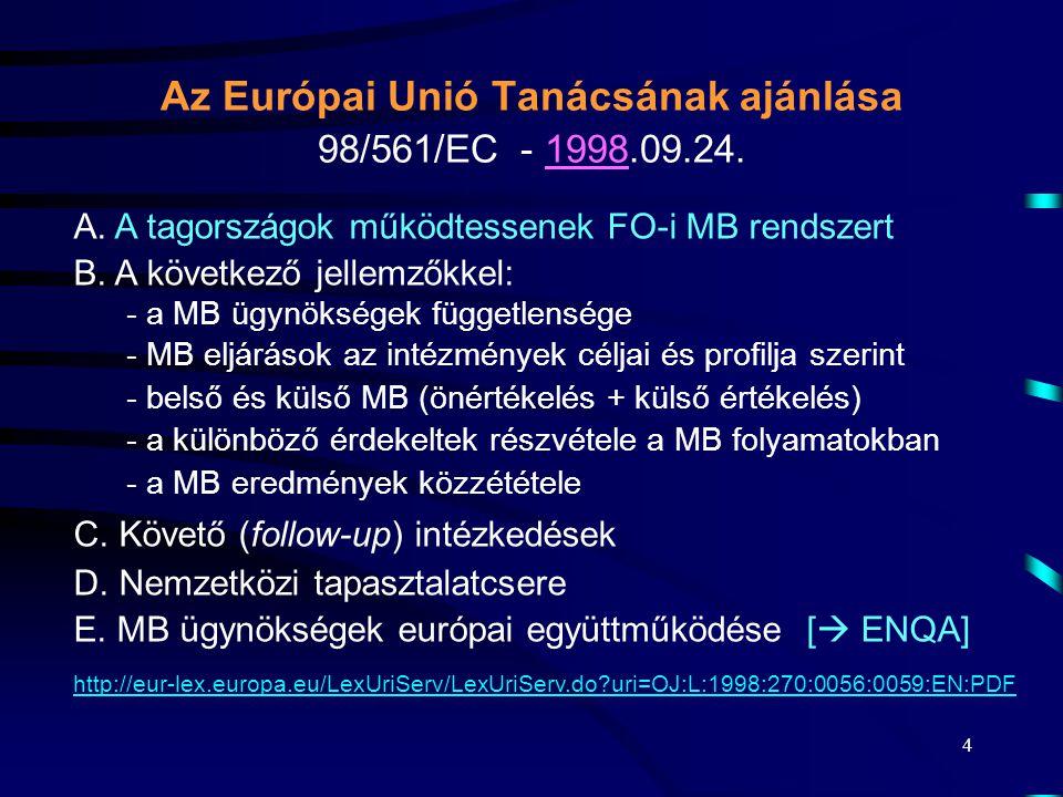 4 Az Európai Unió Tanácsának ajánlása 98/561/EC - 1998.09.24. A. A tagországok működtessenek FO-i MB rendszert B. A következő jellemzőkkel: - a MB ügy