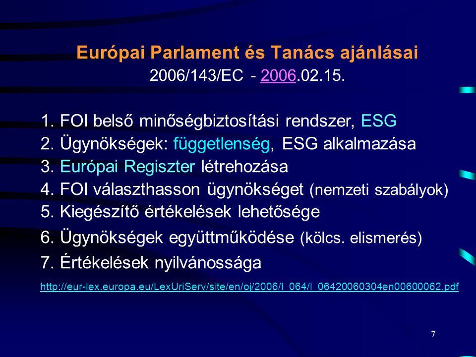 7 Európai Parlament és Tanács ajánlásai 2006/143/EC - 2006.02.15. 1. FOI belső minőségbiztosítási rendszer, ESG 2. Ügynökségek: függetlenség, ESG alka
